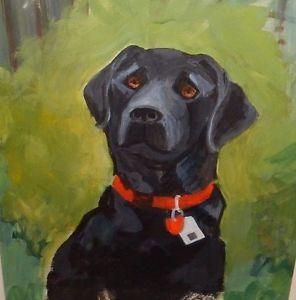 296x300 Black Labrador Dog Original Watercolor Painting Unsigned Ebay