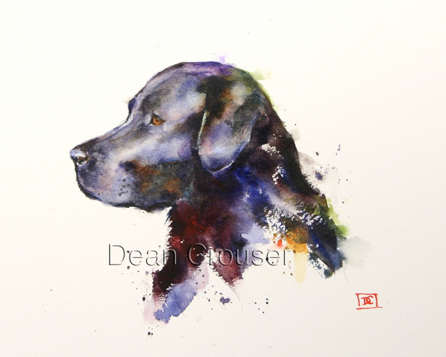 1500x1200 Black Labrador Watercolor Dog Print, Dog Painting By Dean Crouser