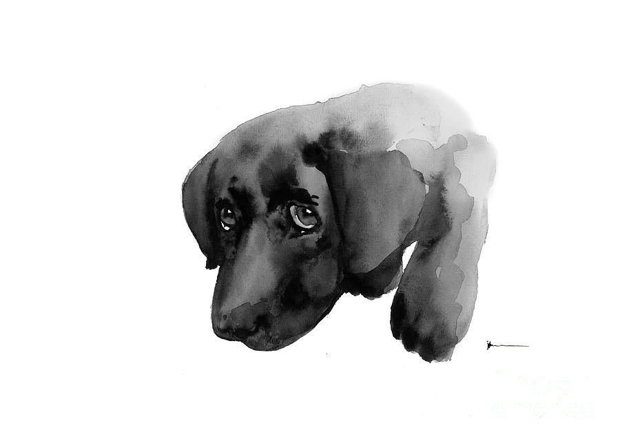 900x640 Black Labrador Dog Watercolor Painting Art Print Painting By
