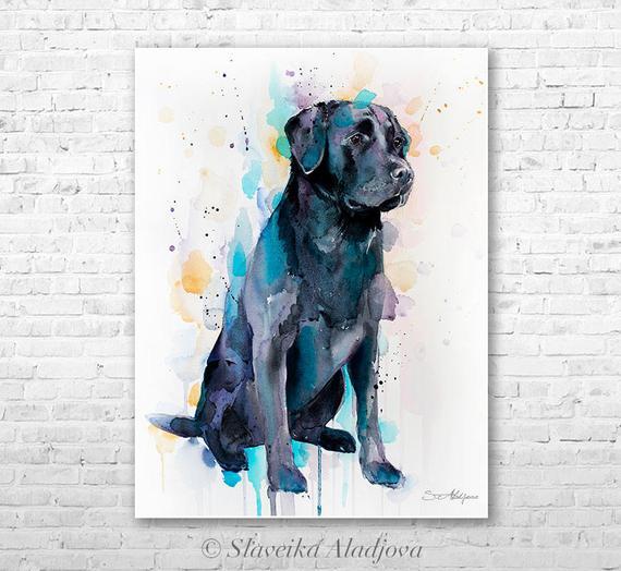 570x524 Black Labrador Watercolor Painting Print By Slaveika Aladjova Etsy