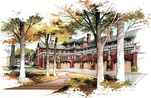 586x382 Watercolor Architectural Renderings