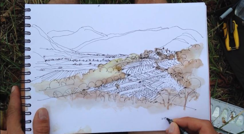 852x469 Drawing Landscape Architecture Pen And Watercolor Ii A