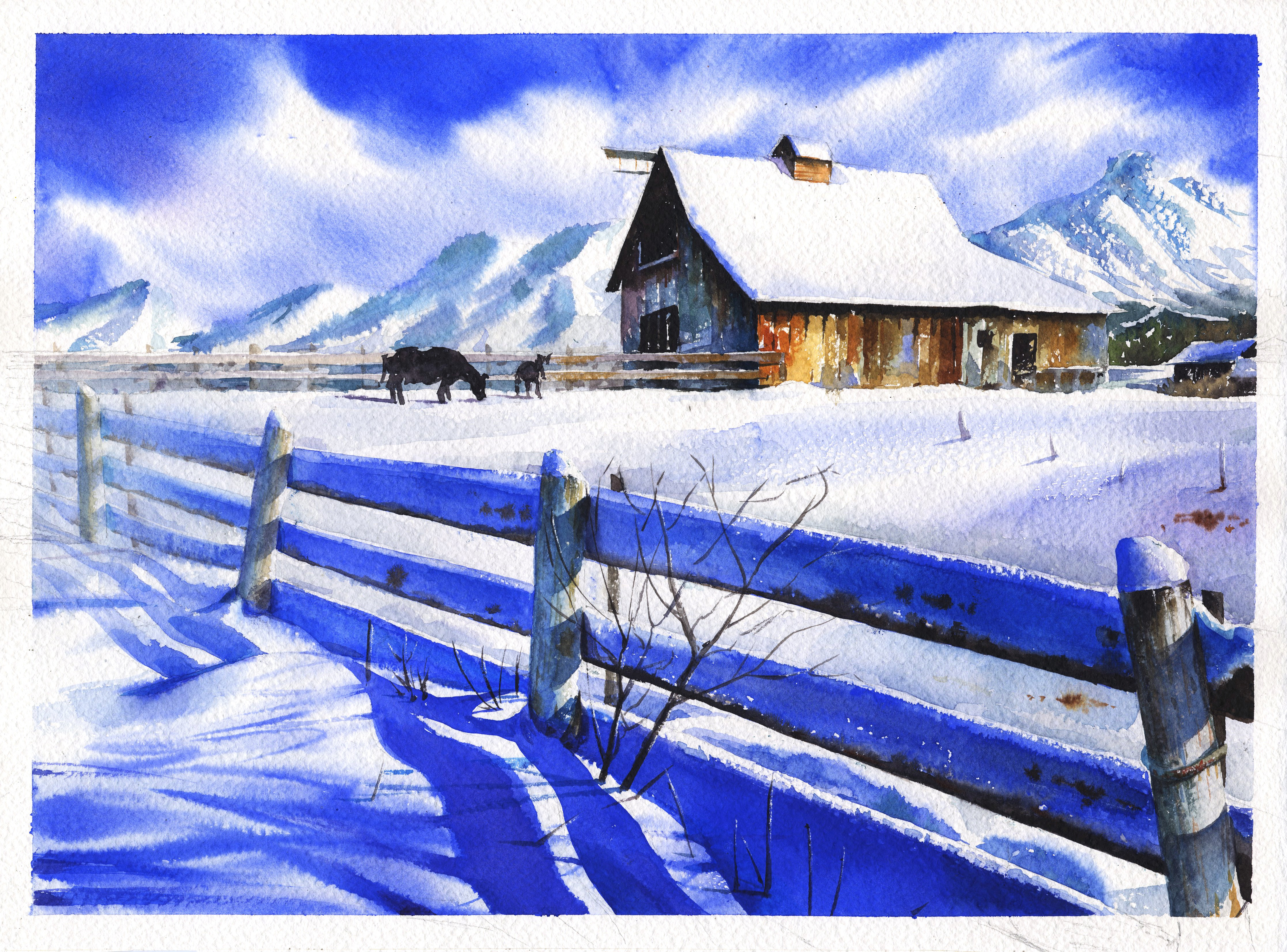 4467x3304 Free Images Snow, Wood, Blue, Painting, Figure, Sketch, Drawing