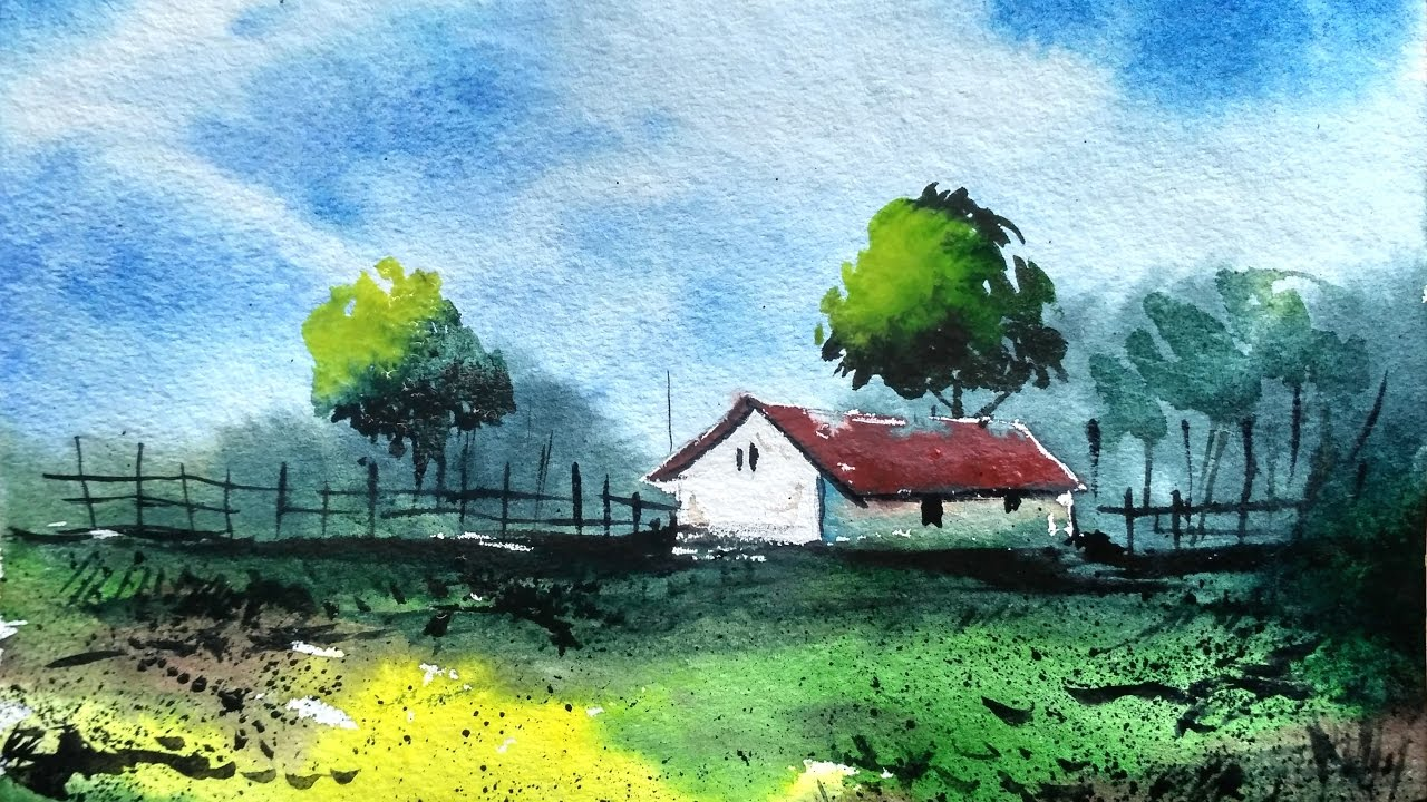 1280x720 How To Draw A Village Landscape With Watercolor Paint With David