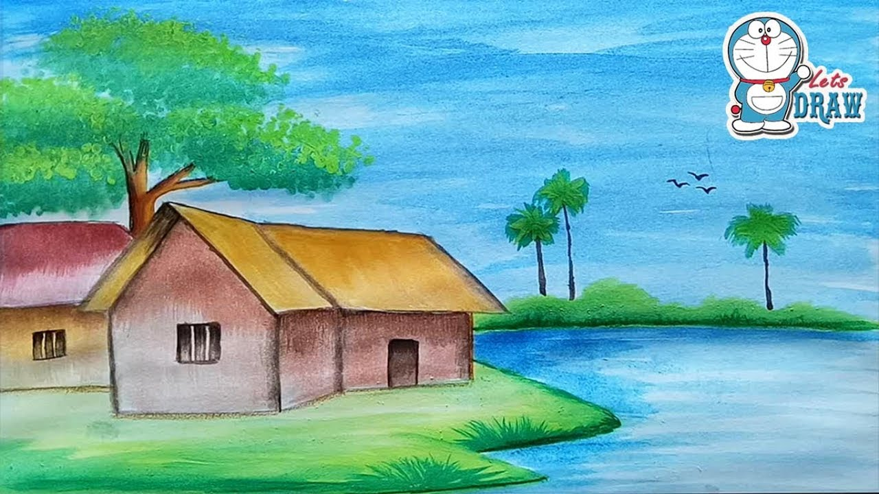 1280x720 How To Draw A Scenery Landscape With Water Color For Beginners