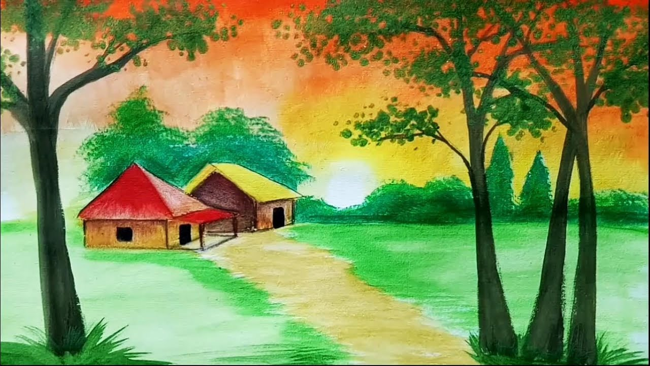 1280x720 How To Draw Sunset Scenery Landscape With Watercolor Step By
