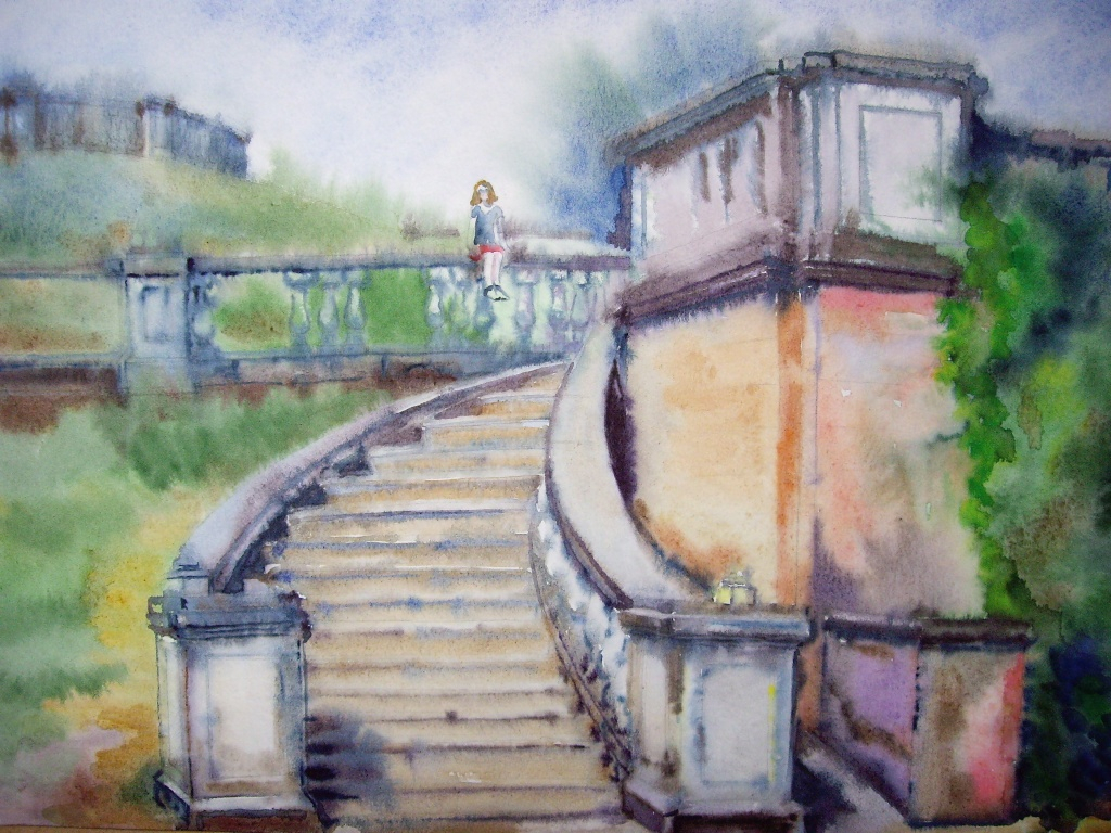 1024x768 Landscape Drawing With Watercolor