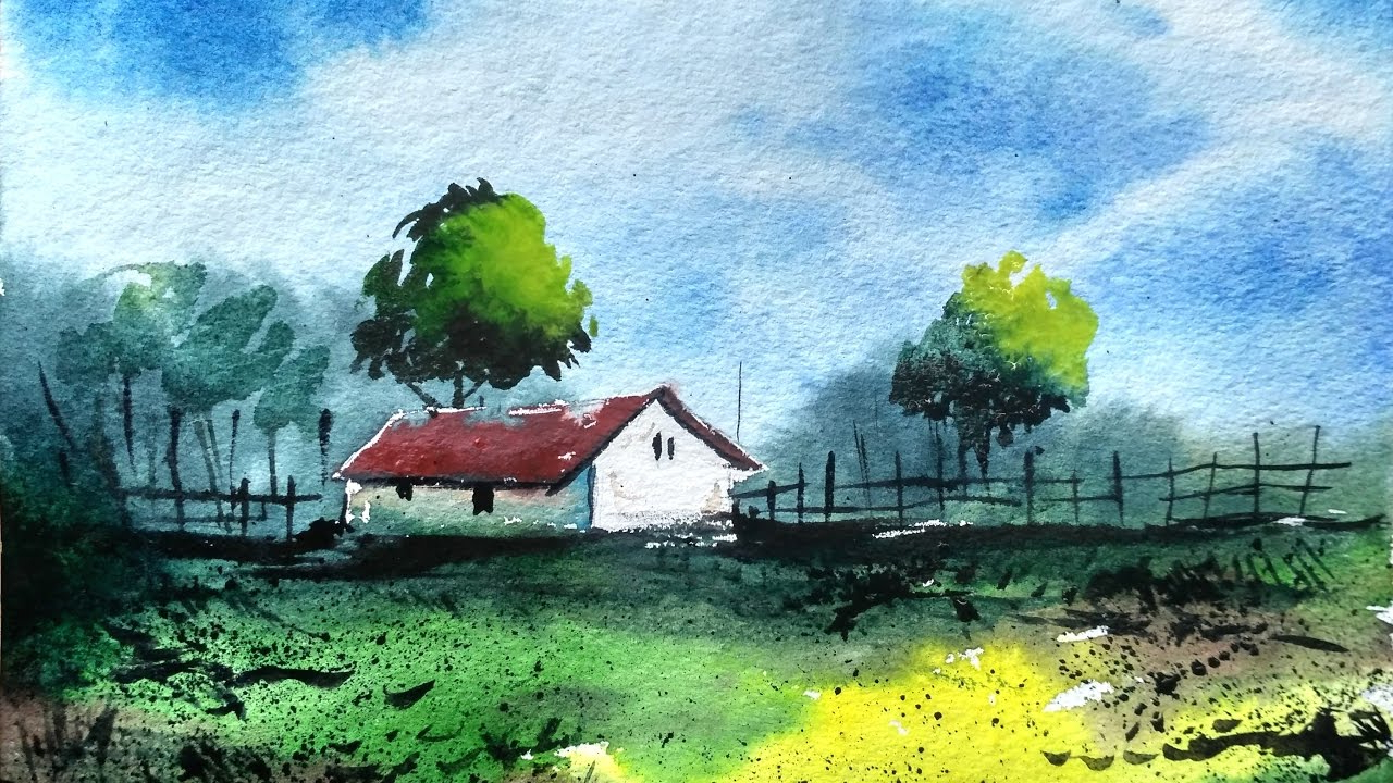 1280x720 Landscape Drawing With Watercolor How To Draw A Village Landscape