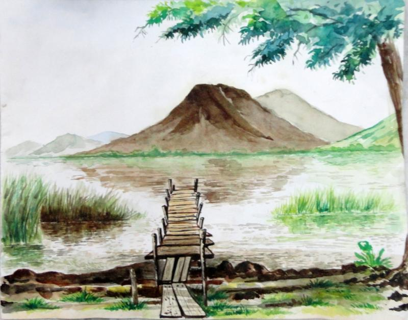 800x628 Landscape In Watercolour + Animals And Birds