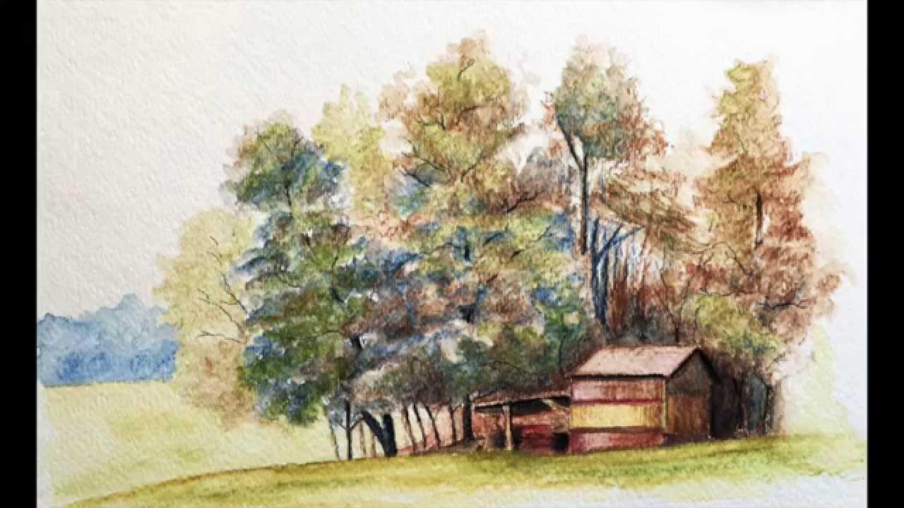 1280x720 Landscape With Watercolor Pencils