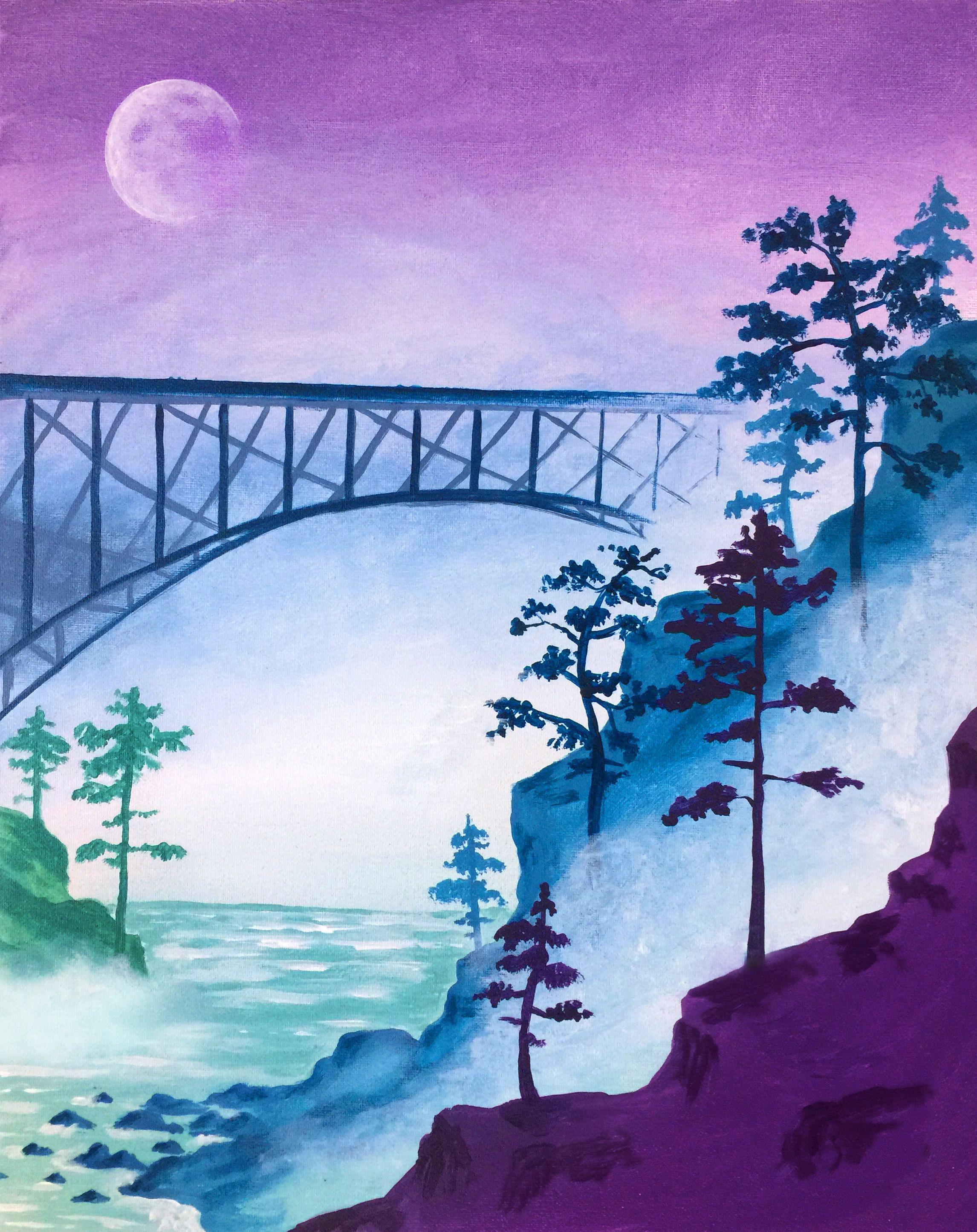 2292x2892 Paint Nite. Bridge In The Mist Paint Nite Bridge