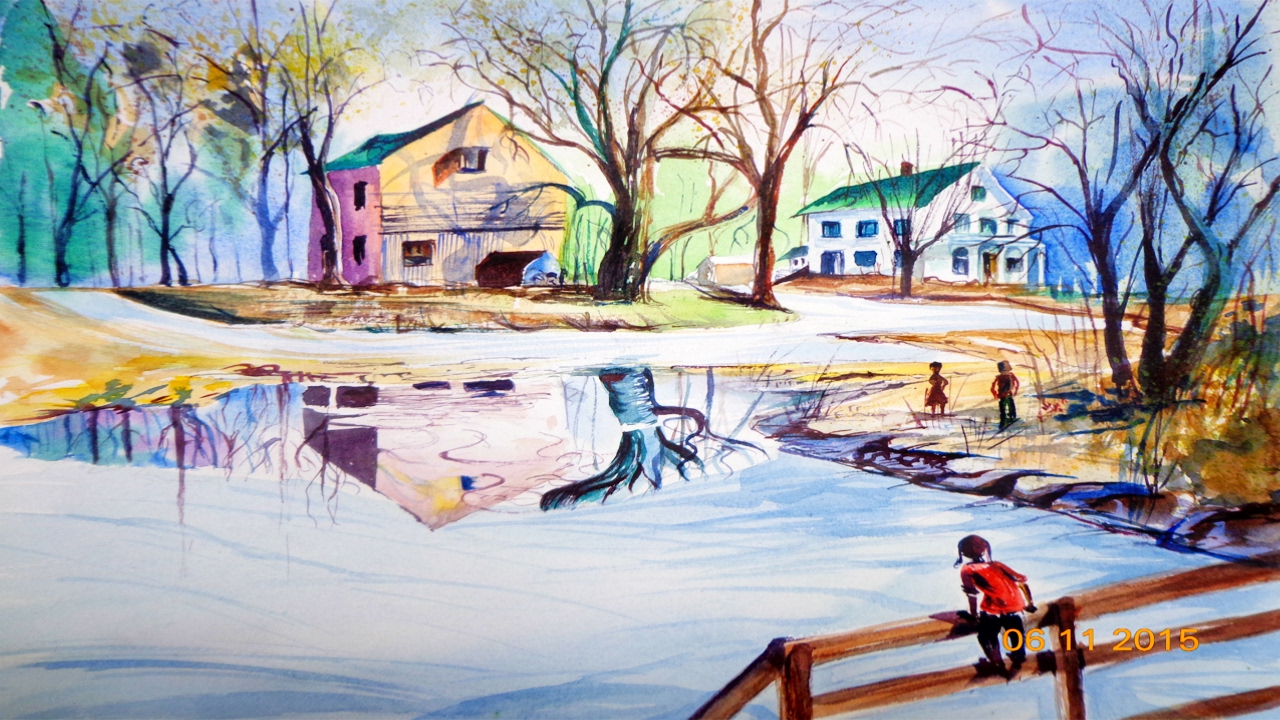 1280x720 3d Scenery Colorful Drawing Scenery Drawing With Watercolor