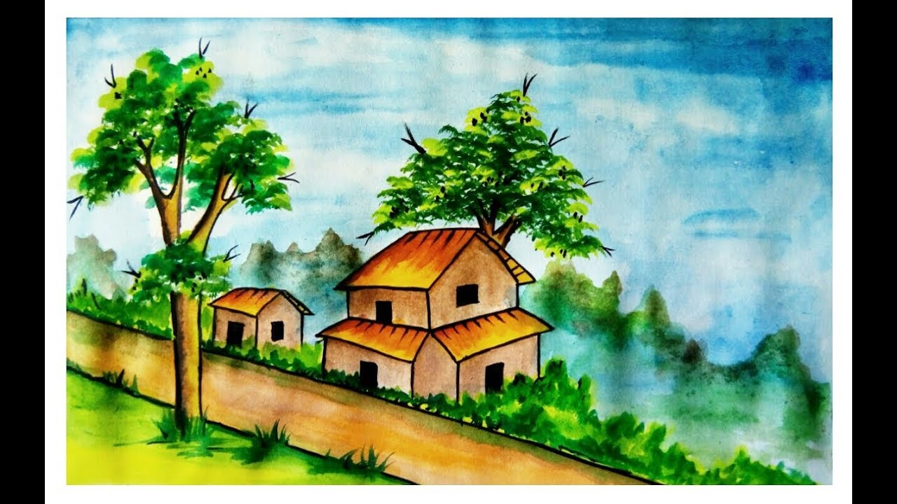 1280x720 Village Scenery Drawing With Watercolor ( Very Easy)
