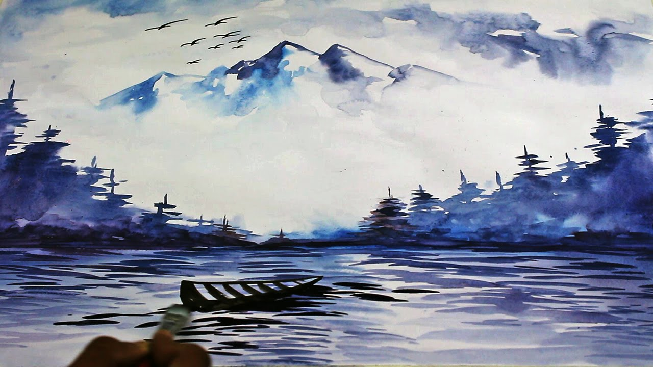 1280x720 Watercolor Landscape Painting Drawing Time Lapse