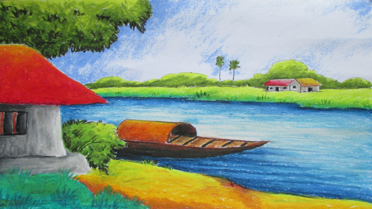 1280x720 Watercolor Scenery Drawing Pastel Painting Oil Pastel Landscape