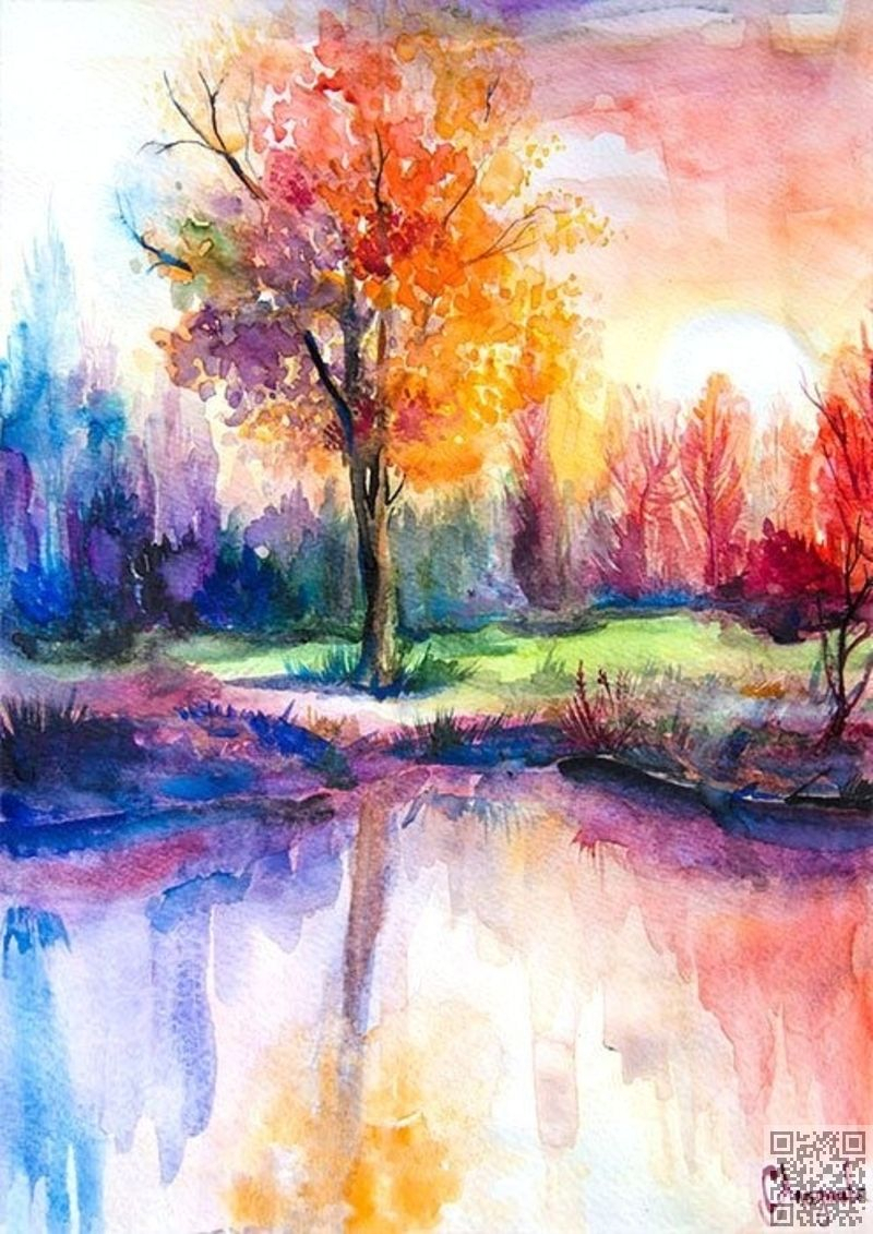 800x1131 Watercolour Painting Of Scenery Pretty Watercolor Landscape