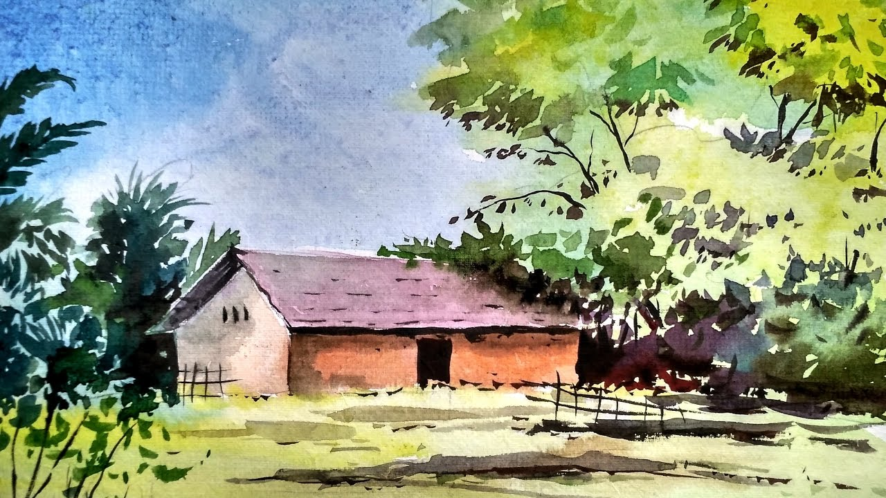 1280x720 Beginners Watercolor How To Draw A House Landscape Paint With
