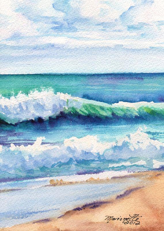 570x805 Drawn Sea Landscape Watercolor