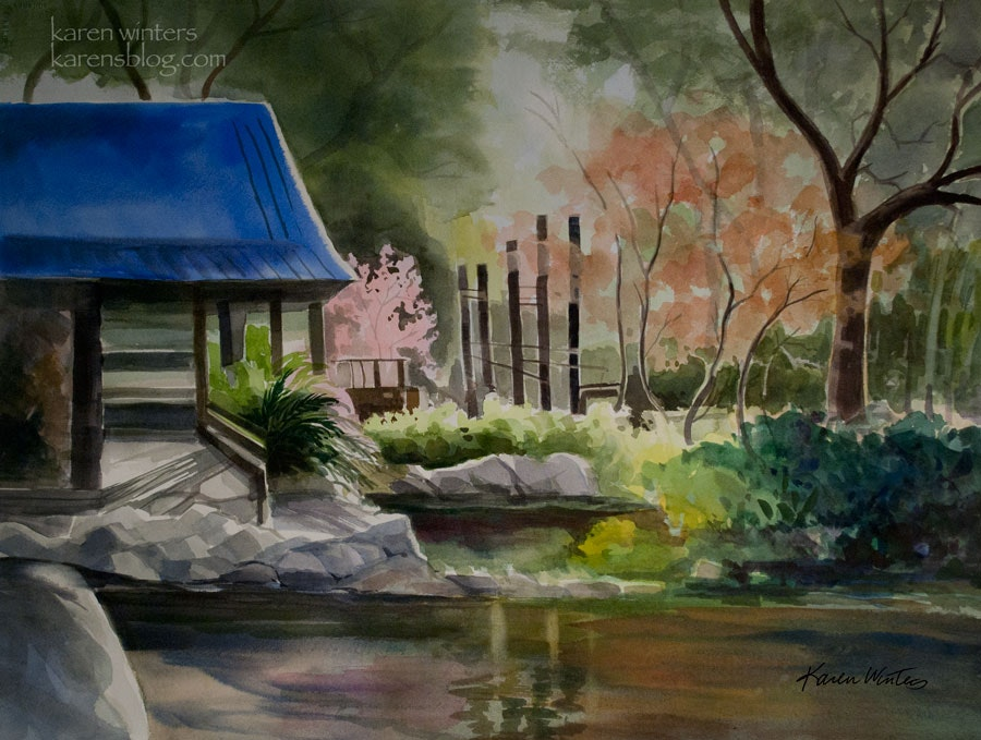 900x679 Descanso Gardens Teahouse Watercolor Painting