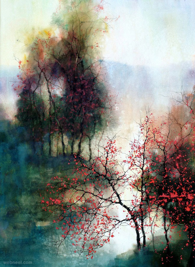 660x903 15 Beautiful Watercolor Landscape Paintings By Zl Feng