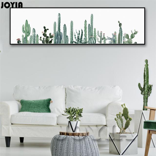 640x640 Large Watercolor Tropical Plants Wall Art, Wall Decor Cactus Art