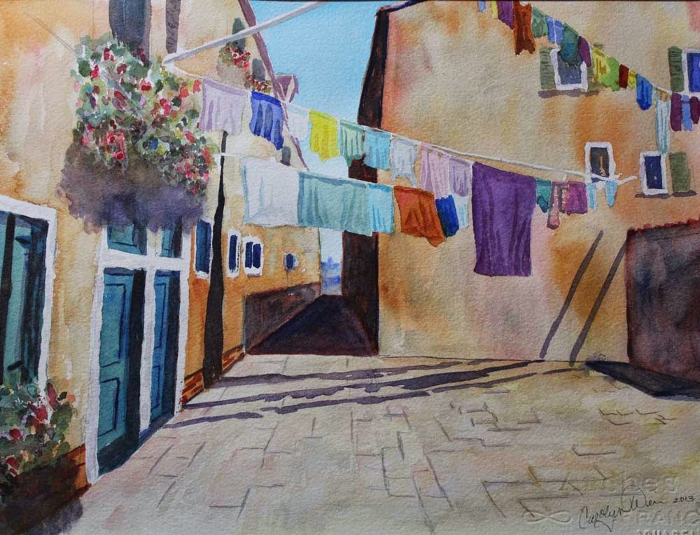 1000x764 Watercolor Paintings And Mobiles By Carolyn Weir Blooming Laundry
