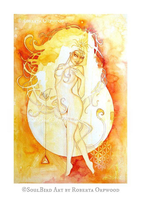 570x809 Zodiac Art Print, Leo, Watercolor Art, Goddess Art, Fine Art Print