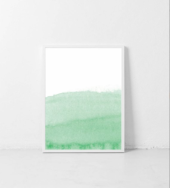 570x629 Light Green Print. Green Wall Art. Green Watercolor Print. Etsy