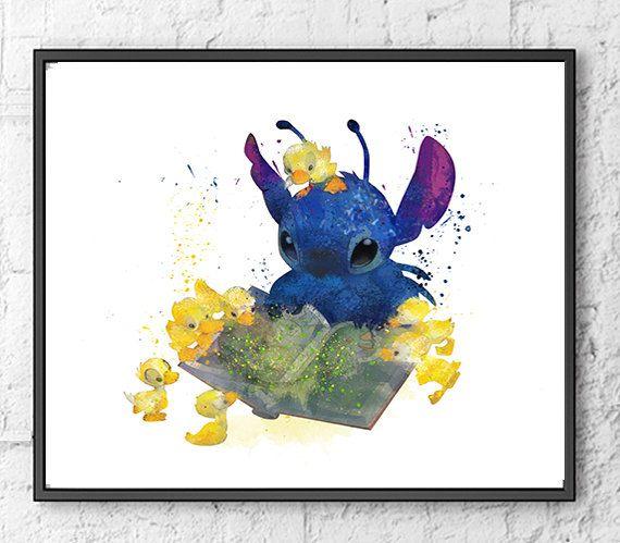 570x499 Stitch Art, Lilo Amp Stitch Watercolor Poster, Movie Poster, Wall