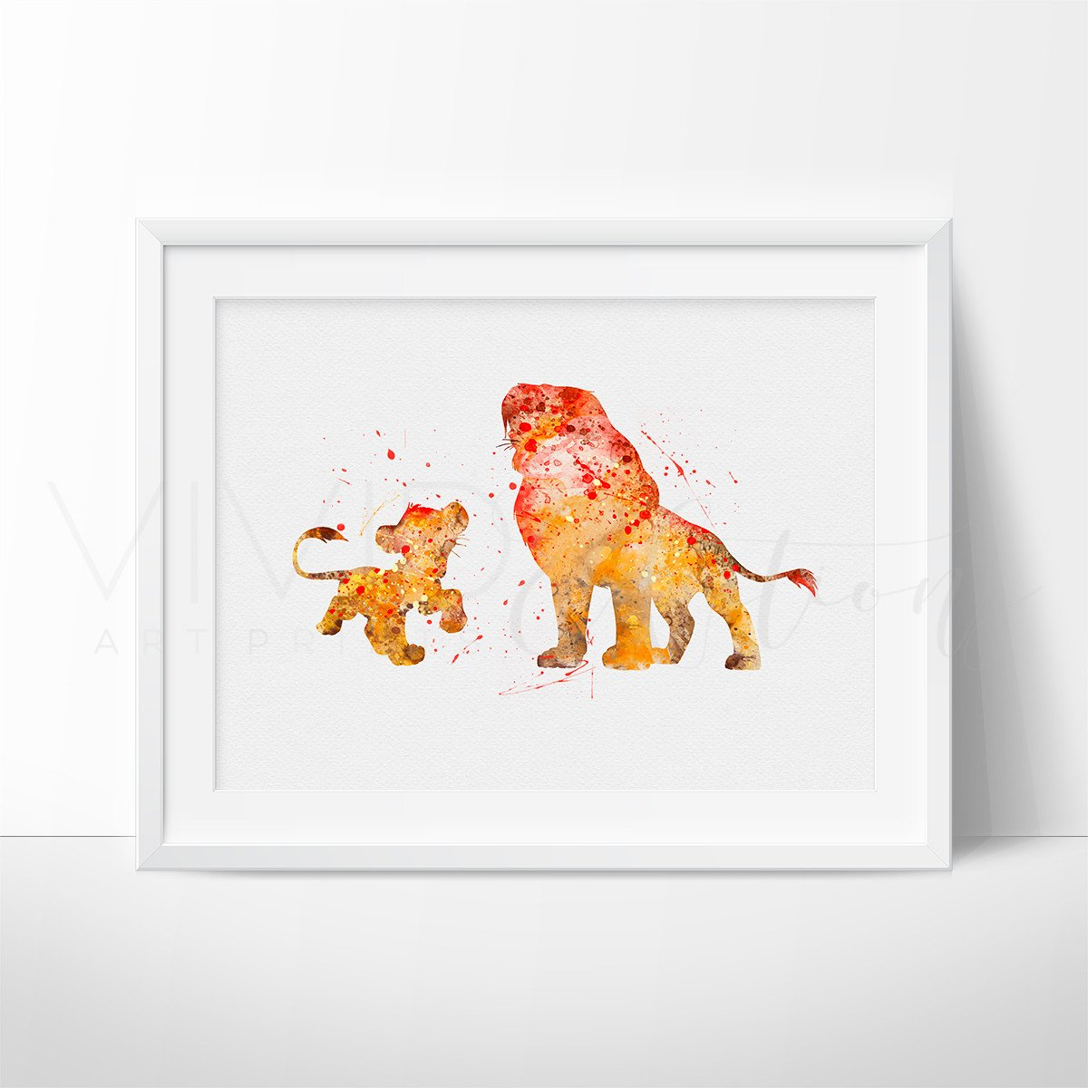 1200x1200 Lion King Simba Amp Mufasa Watercolor Nursery Art Print, Kids Wall