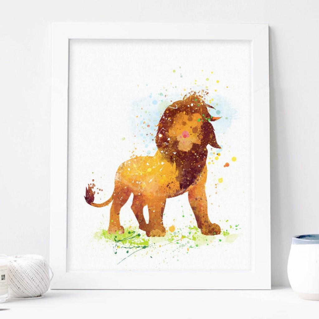 1024x1024 Lion King Watercolor Print, Disney Baby Boy Nursery Decor, Wall