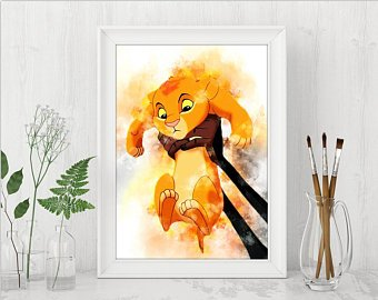340x270 Lion King Watercolor Etsy