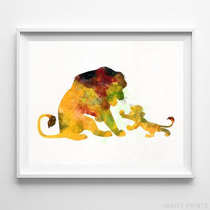 699x699 Mufasa Simba The Lion King Type 1 Wall Art Disney Watercolor