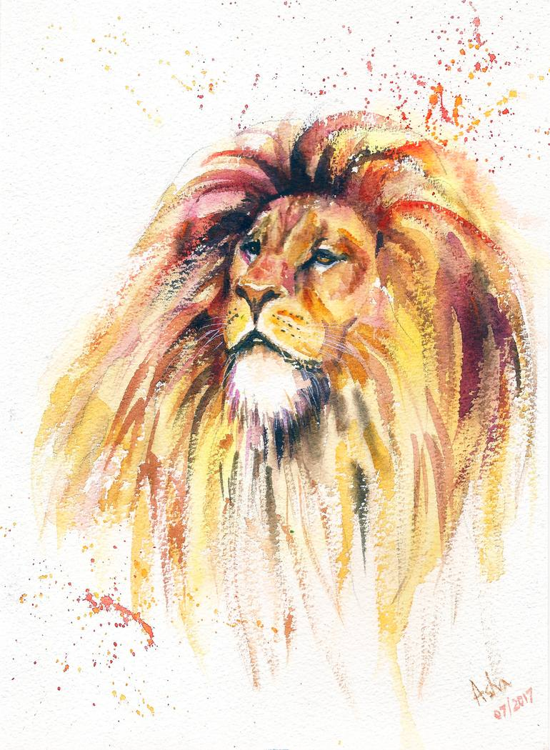 770x1050 Saatchi Art The Lion King Watercolor Painting Painting By Asudhaker S