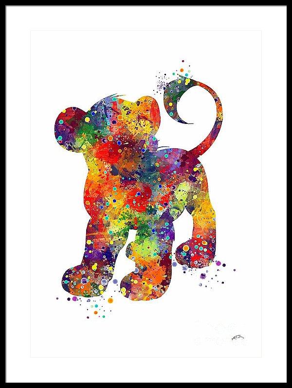 600x798 Simba The Lion King Watercolor Art Framed Print By Svetla Tancheva