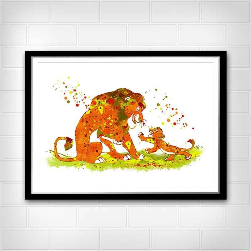 800x800 Simba And Mufasa Print, Disney Watercolor Print, Lion King Poster