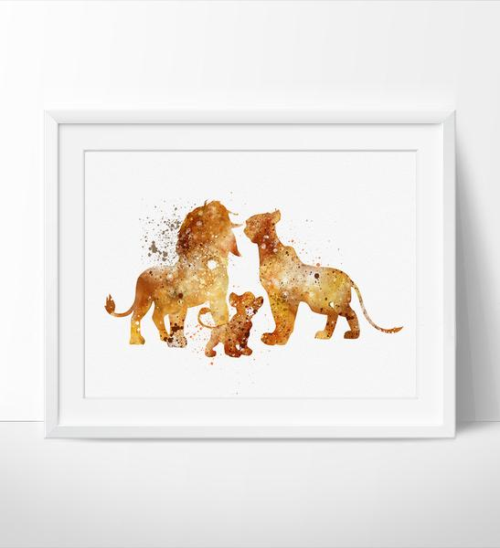 547x600 The Lion King Family , Disney Watercolor Art, Nursery Watercolor