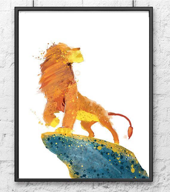 570x642 The Lion King Watercolor Print, Simba Art, Lion Jungle, Movie
