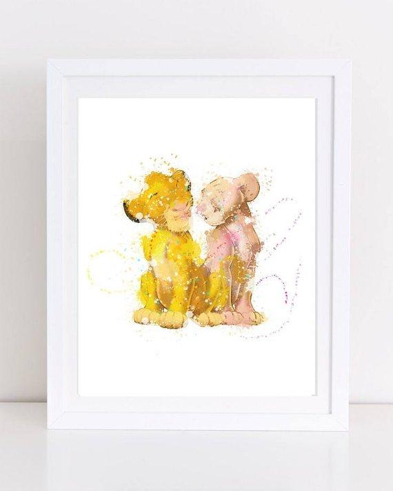 570x713 Lion King Watercolor Lion King Nursery Boy Room Decor Simba Etsy