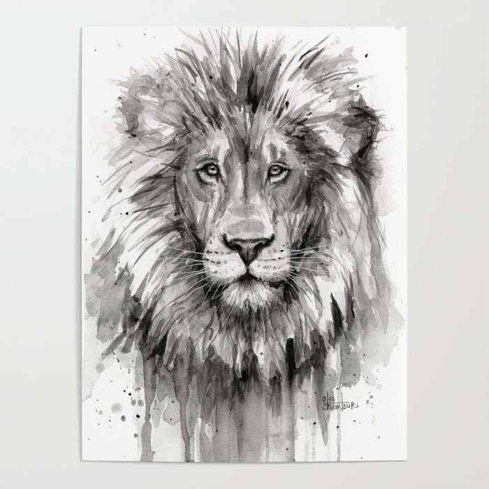 700x700 Lion Watercolor Animal Poster By Olechka Society6