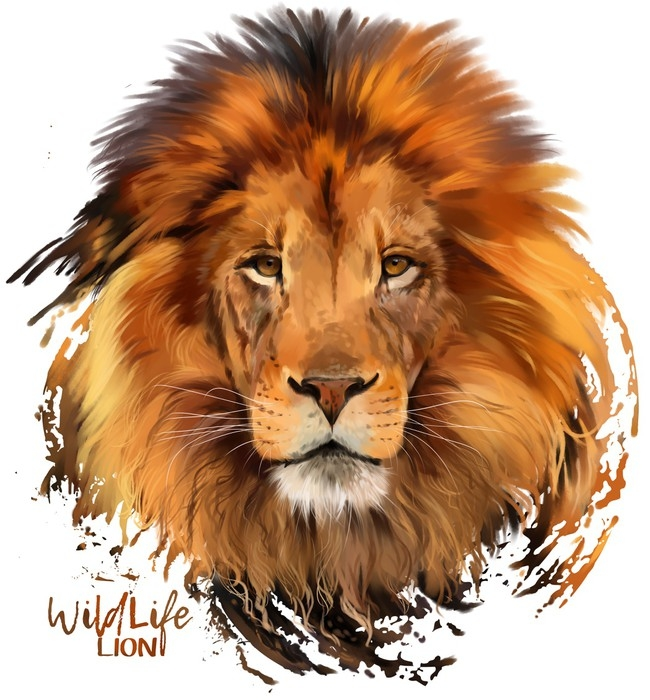 650x700 Lion Watercolor Illustration Wall Mural We Live To Change