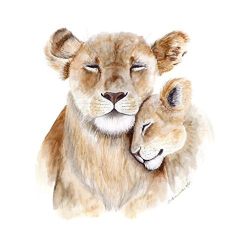 500x500 Mom And Baby Lion Watercolor Nursery Wall Art Print In
