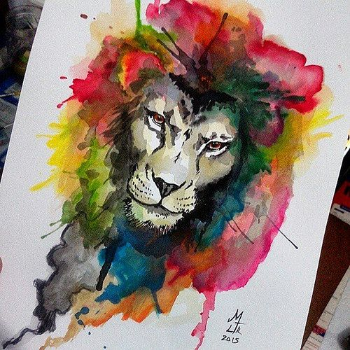 500x500 Lion Watercolor Tattoo