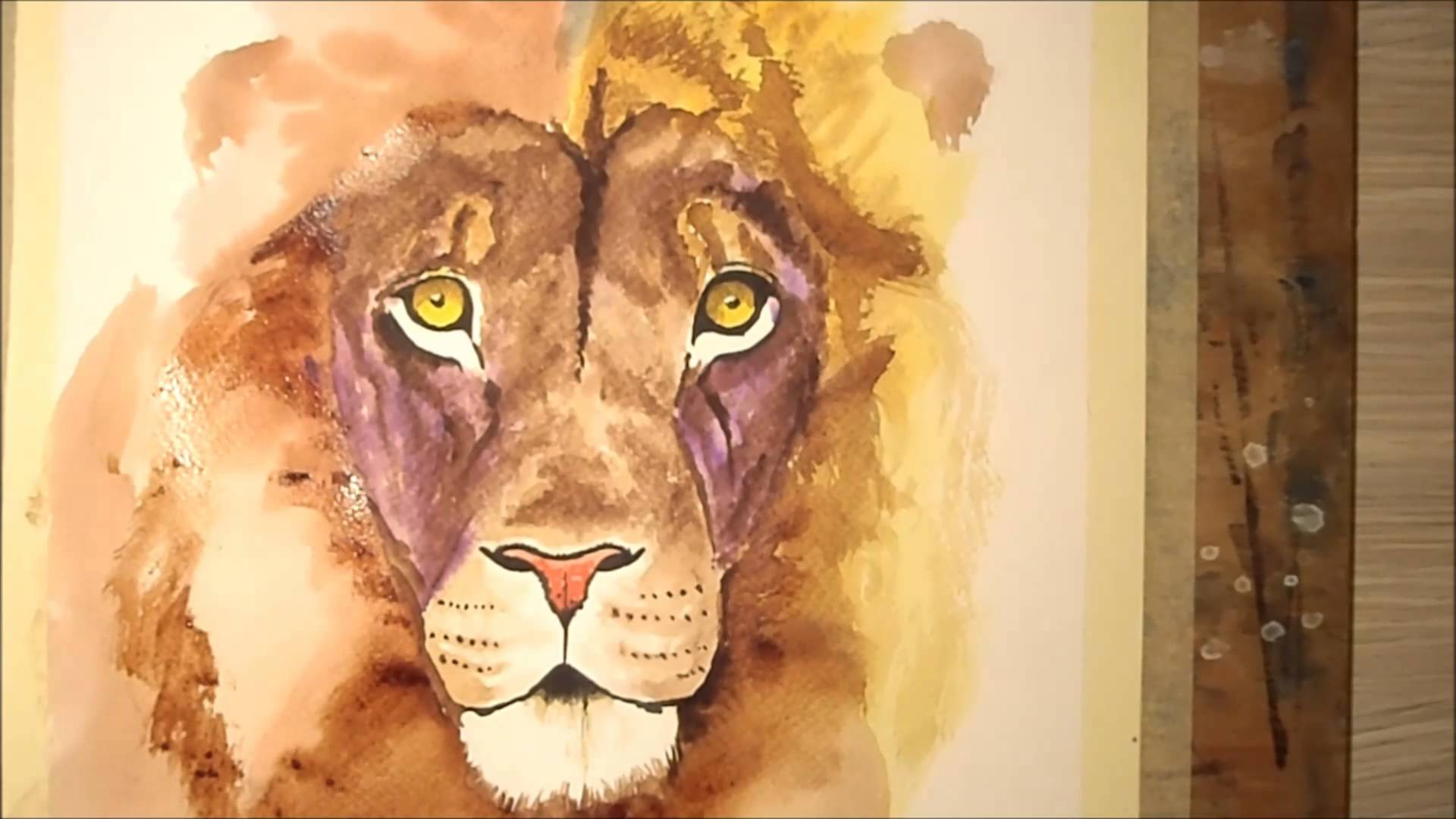 1920x1080 Painting Lion Watercolor