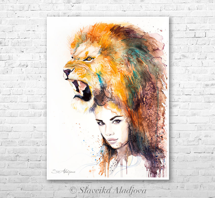 869x799 Lion Girl Watercolor Painting By Slaveika Aladjova On Behance