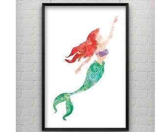 340x270 Disney Ariel Little Mermaid Watercolor Poster Print Wall