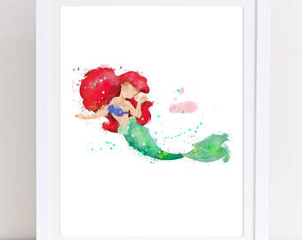 340x270 70% The Little Mermaid Watercolor Printable Poster Ariel Etsy