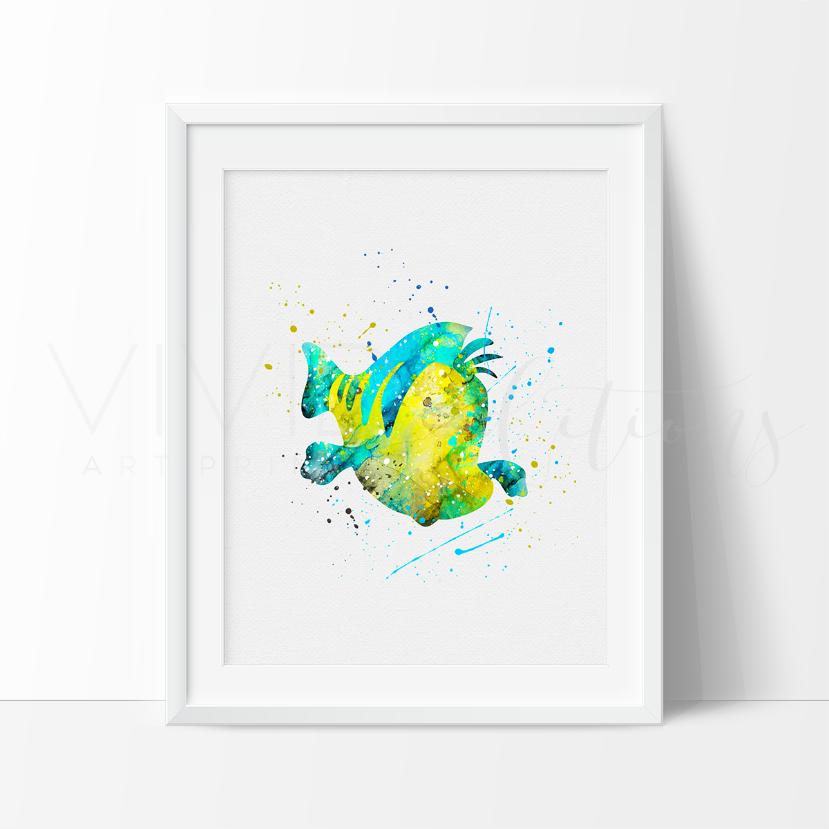 1200x1200 Little Mermaid Flounder The Fish Nautical Nursery Art Print Wall