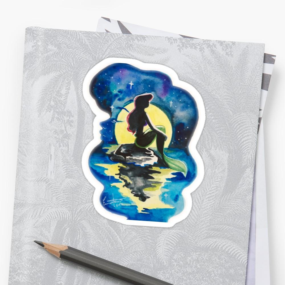 1000x1000 Little Mermaid Watercolor Stickers By Emma Heun Redbubble