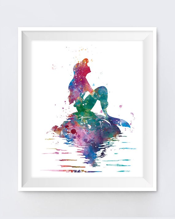 570x713 Princess Ariel Art Print Ariel Little Mermaid Watercolor Etsy